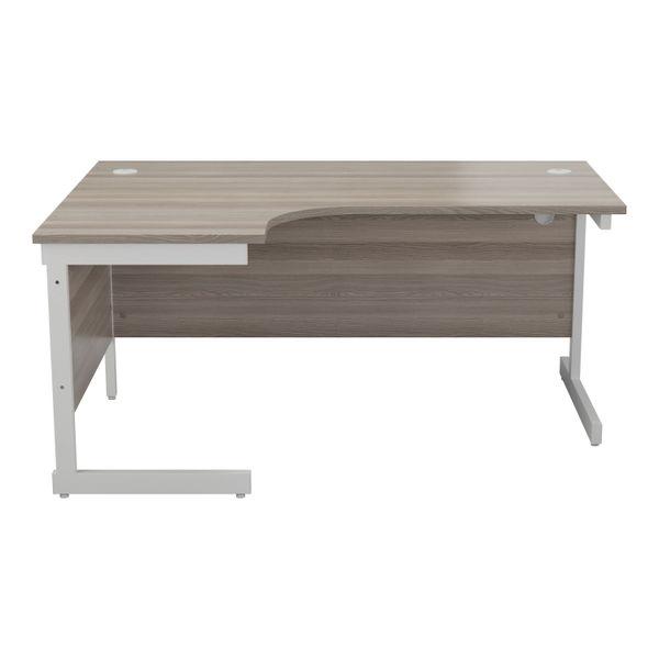 Jemini 1600mm Grey Oak/White Left Hand Radial Desk