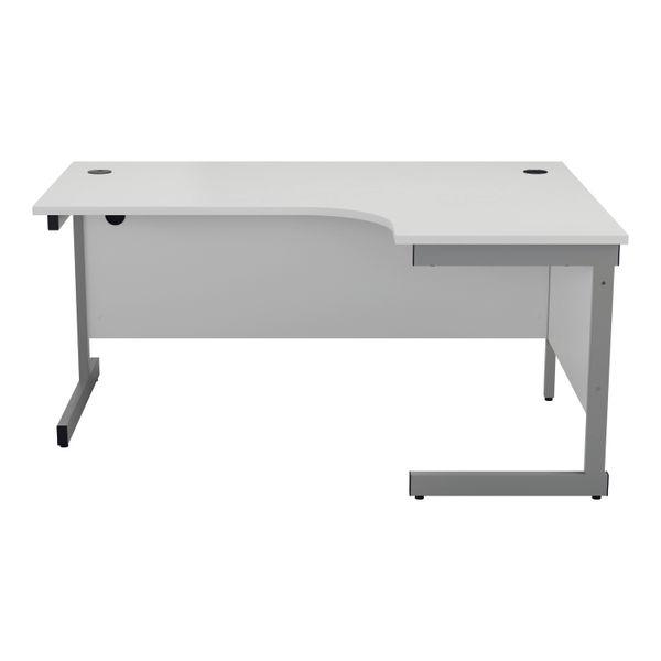 Jemini 1600mm White/Silver Right Hand Radial Desk