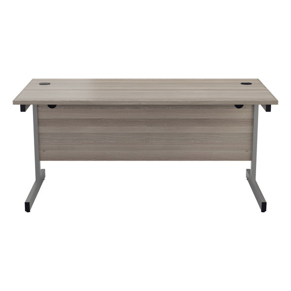 Jemini 1800x800mm Grey Oak/Silver Single Rectangular Desk