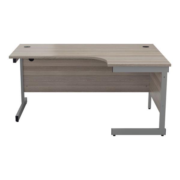 Jemini 1800mm Grey Oak/Silver Right Hand Radial Desk