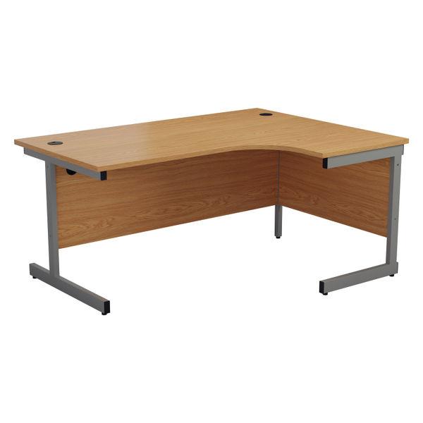 Jemini 1800mm Nova Oak/Silver Right Hand Radial Desk