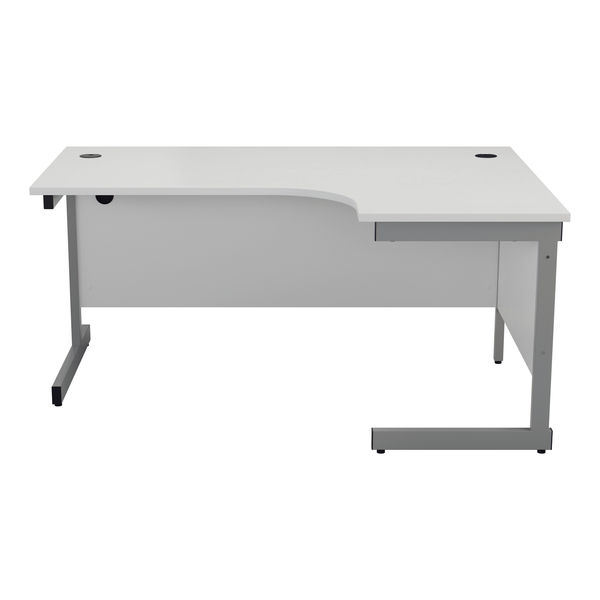 Jemini 1800mm White/Silver Right Hand Radial Desk
