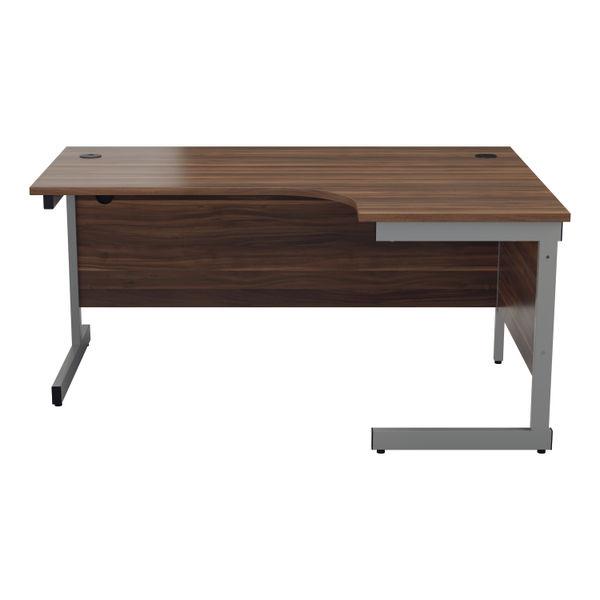 Jemini 1800mm Dark Walnut/Silver Right Hand Radial Desk