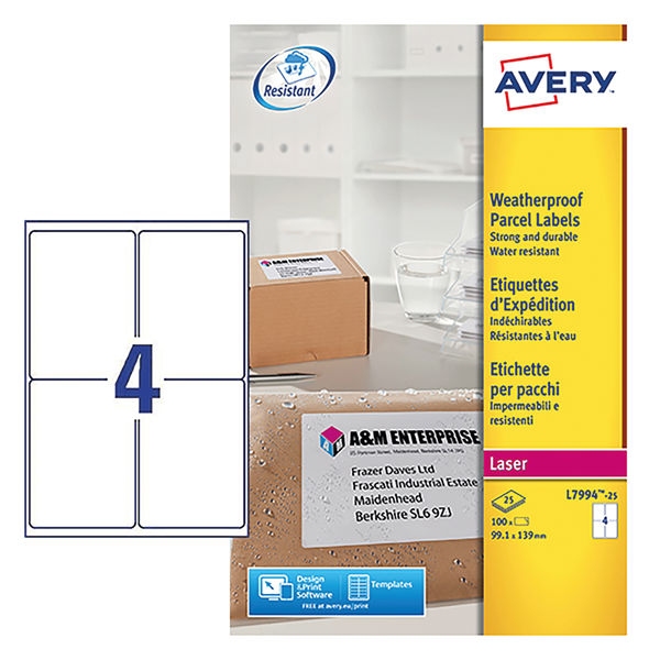 Avery Weatherproof White Shipping Labels, 99.1 x 139mm (Pack of 100) - AV04916