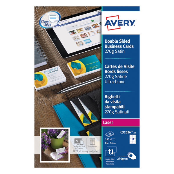 Avery Satin White 85 x 54mm 270gsm Laser Business Cards, Pack of 250 | C32026-25