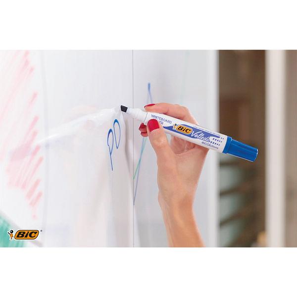 BIC Black Chisel TIp Velleda Whiteboard Markers, Pack of 12 - BC75109