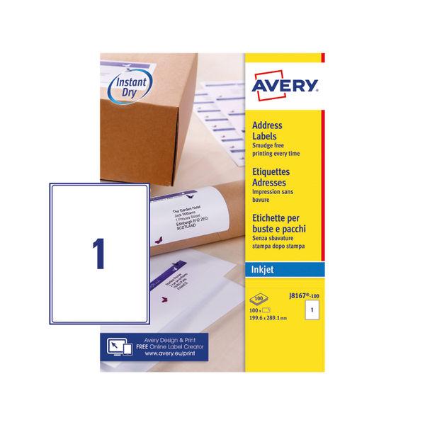 Avery 199.6 x 289.1mm White Address Inkjet Labels, Pack of 100 - J8167-100