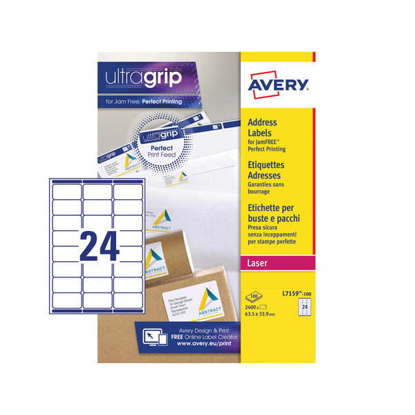 Avery Ultragrip Laser Labels 63.5x33.9mm White (Pack of 2400) L7159-100