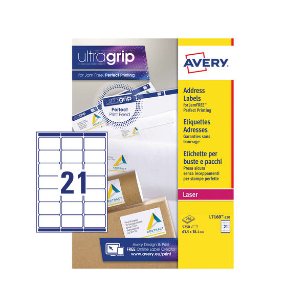 Avery 63.5 x 38.1mm White Ultragrip Laser Labels, Pack of 5250 - L7160-250