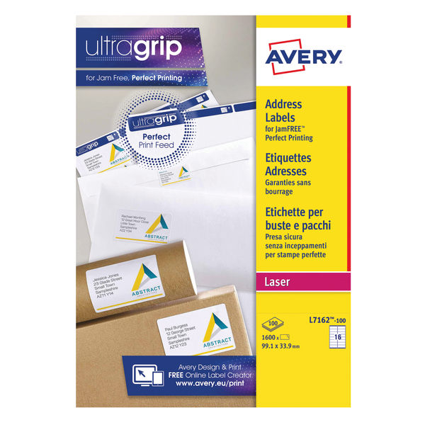 Avery Address Laser Labels 16 Labels Per Sheet (100 Sheets Per Pack)| Avery L7162