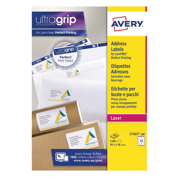 Avery Address Laser Labels / 14 Labels Per Sheet Jam-Free 99.1 x 38.1mm (100 Sheets) | Avery L7163-100