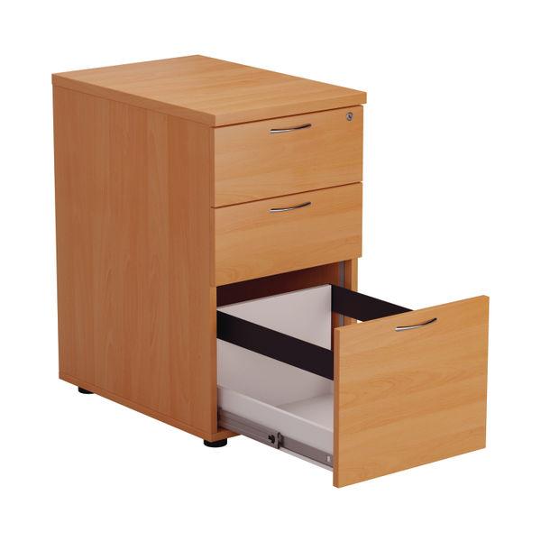 Jemini V2 D600mm Beech 3 Drawer Desk High Pedestal