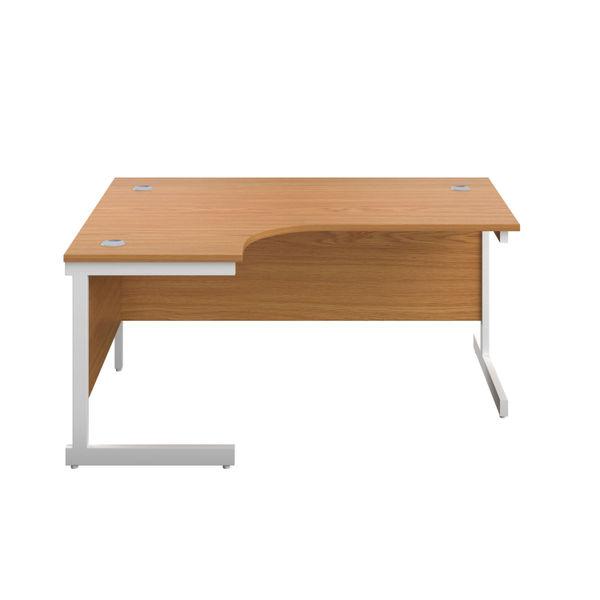 First 1800mm Nova Oak/White Left Hand Radial Desk