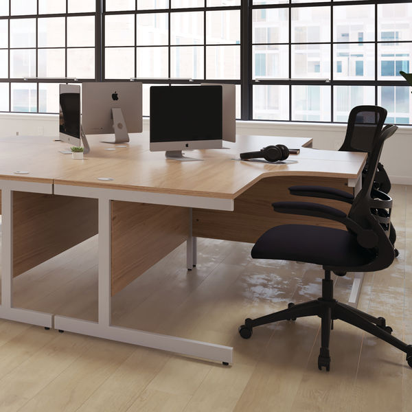 First 1600mm Nova Oak/Silver Left Hand Radial Desk with Pedestal