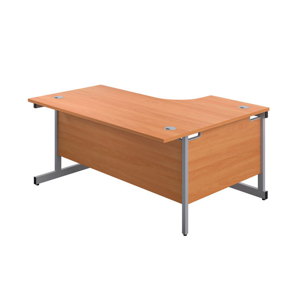 First 1600mm Beech/Silver Left Hand Radial Desk