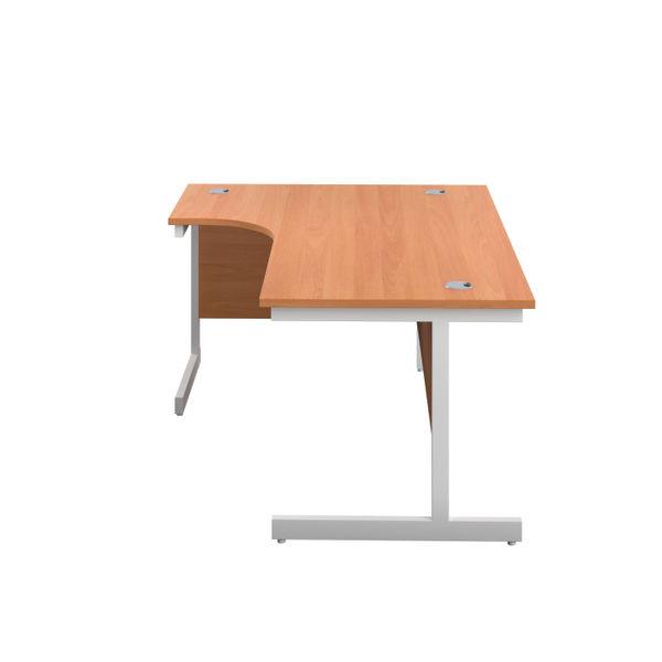 First 1600mm Beech/White Left Hand Radial Desk