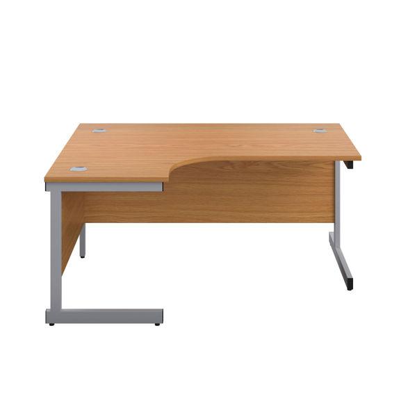 First 1600mm Nova Oak/Silver Left Hand Radial Desk