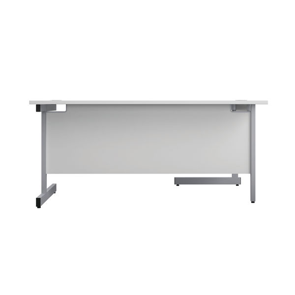 First 1600mm White/Silver Left Hand Radial Desk