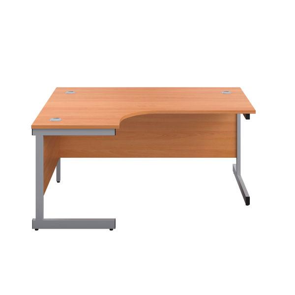 First 1800mm Beech/Silver Left Hand Radial Desk