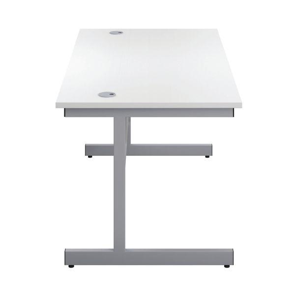 First 1400mm White/Silver Single Rectangular Desk