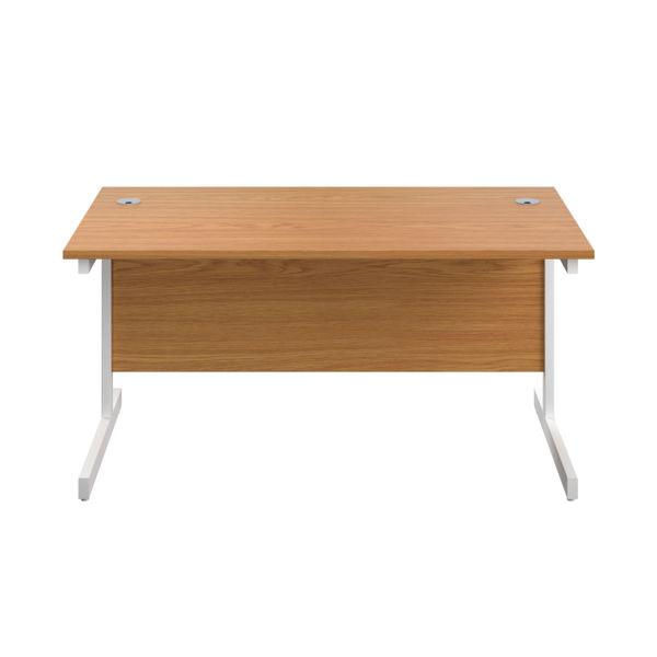 First 1400mm Nova Oak/White Single Rectangular Desk
