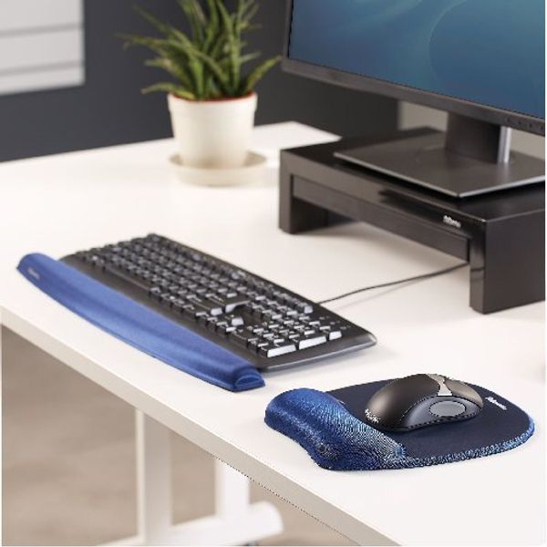 Fellowes Sapphire Blue Memory Foam Mouse Pad Wrist Support - 9172801