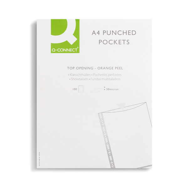 Q-Connect A4 Punched Pockets 50 Micron Clear, Pack of 100 | KF24001