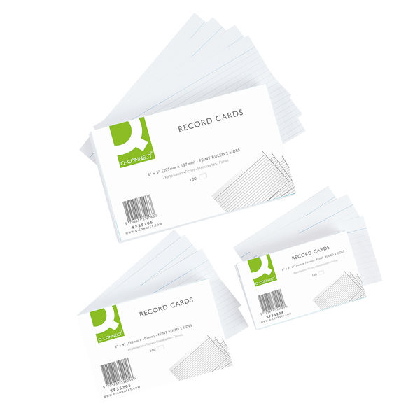 Q-Connect White 5 x 3 Inches Record Cards, Pack of 100 - KF35204