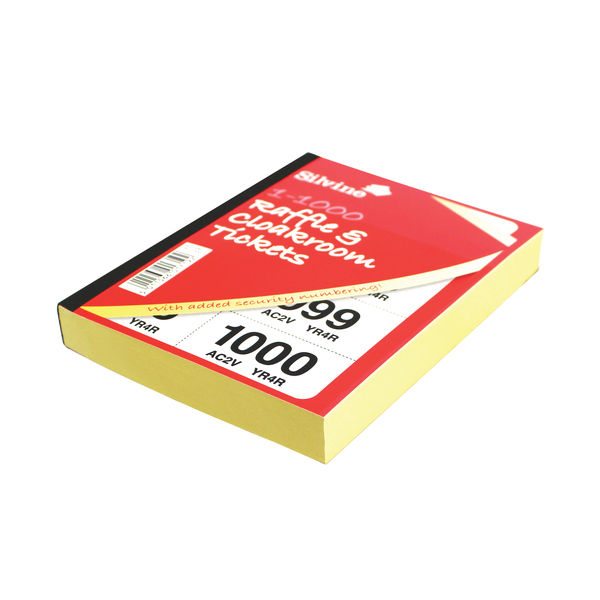 Silvine Cloakroom Ticket 1-1000 Books - Pack of 6 - 00277