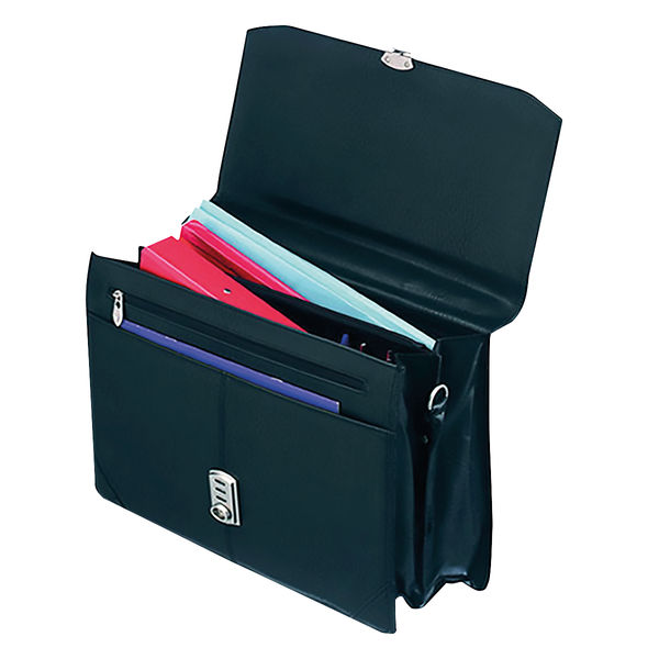 Falcon International Leatherette Flap Over Briefcase - 2584