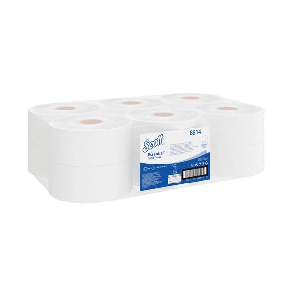 Scott White 2-Ply Mini Jumbo Toilet Rolls, Pack of 12 - 8614