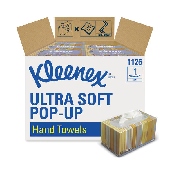 Kleenex Ultra 1-Ply Pop-Up Hand Towel Boxes, Pack of 18 - 11268
