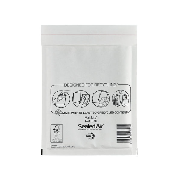 Sealed Air Bubble Postal Bags Self Seal White 150x210mm Pack of 100 MLW C/0