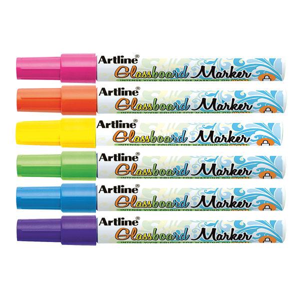 Artline Assorted Fine Glassboard Markers, Pack of 8 - EPG-4W6ASS