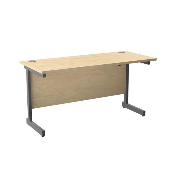 Jemini 1400x600mm Maple/Silver Single Rectangular Desk
