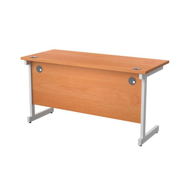 Jemini 1400x600mm Beech/White Single Rectangular Desk