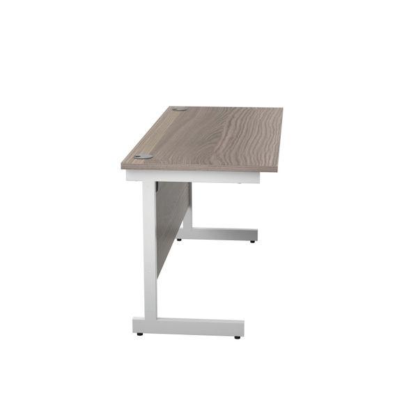 Jemini 1400x600mm Grey Oak/White Single Rectangular Desk