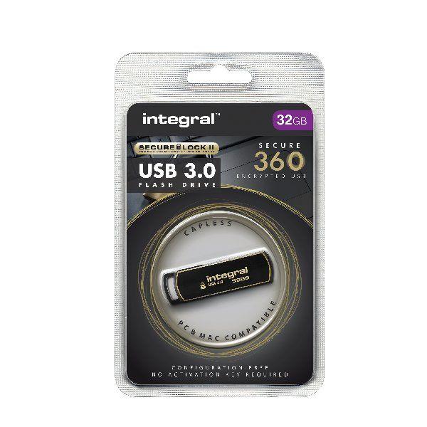 Integral Secure 360 USB 3.0 32GB Flash Drive - INFD32GB360SEC3.0