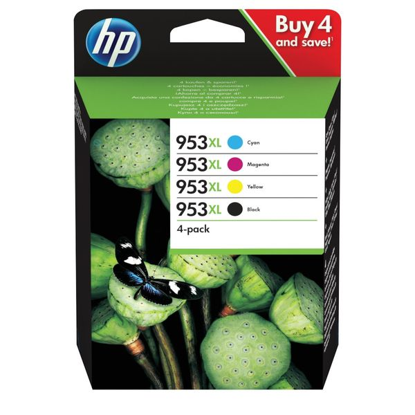 HP 953XL Black and Colour Multipack Ink Cartridge 4 Pack | 3HZ52AE