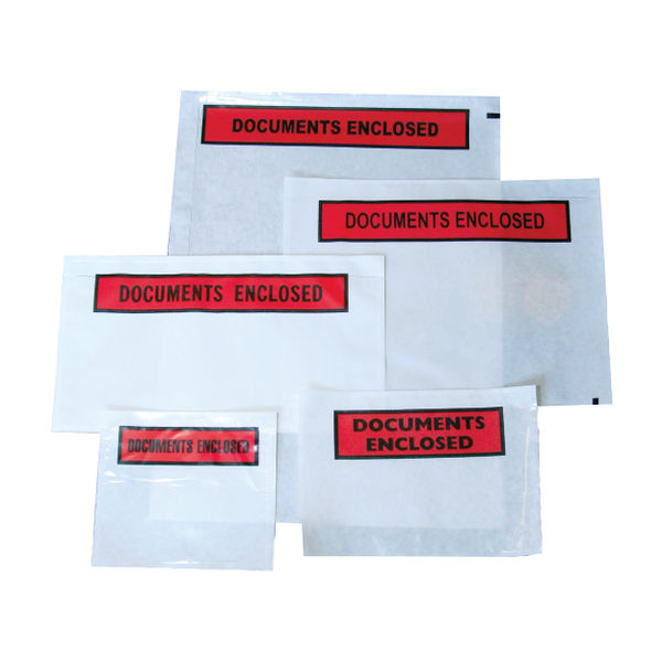 Basics Documents Enclosure Labels A7 113x94mm Plain Clear Box 1000 | DOCA7
