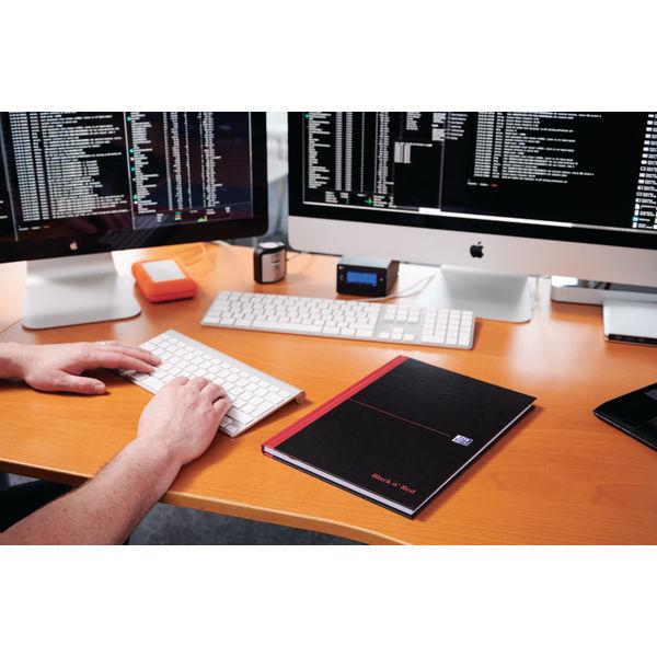 Black n Red Plain Casebound Hardback Notebook A4 (Pack of 5) 100080489