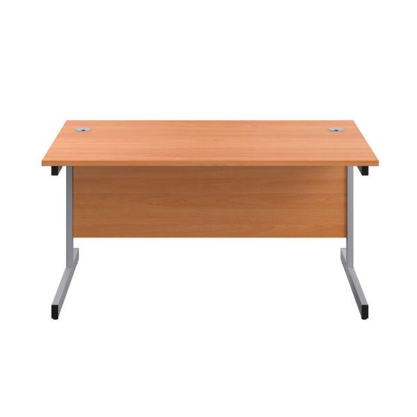 Jemini 1400x800mm Beech/Silver Single Rectangular Desk