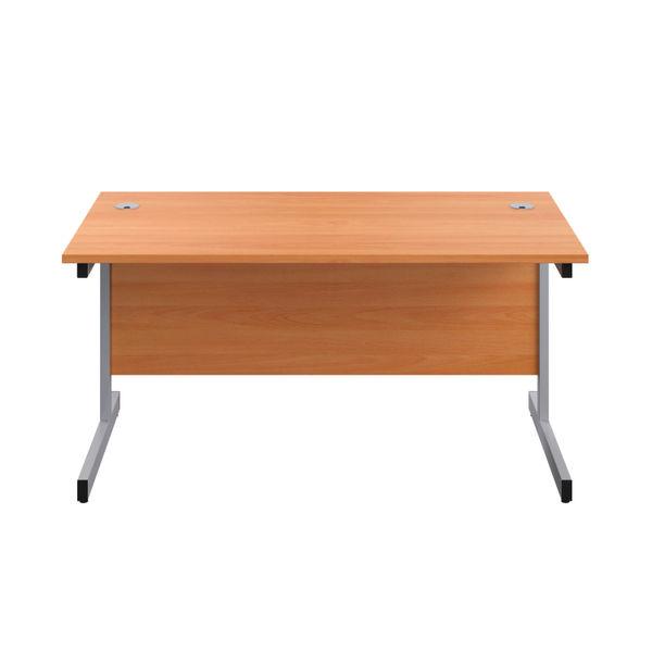 Jemini 1600x800mm Beech/Silver Single Rectangular Desk
