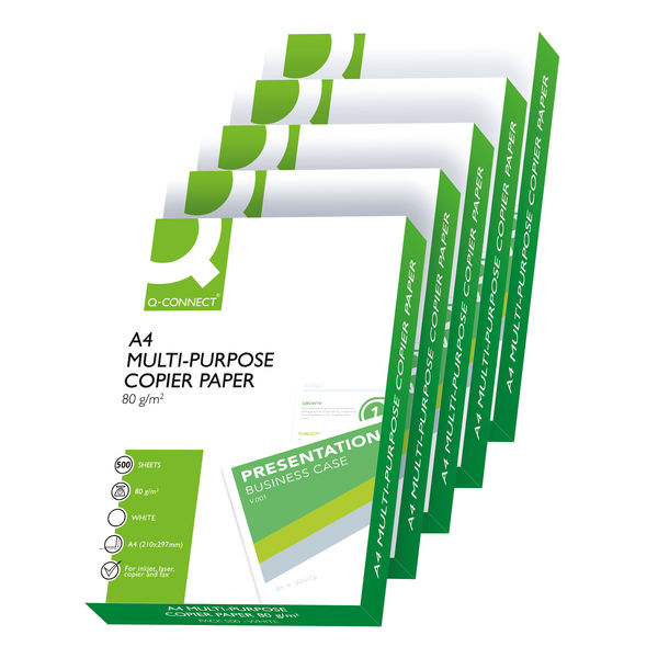 Q-Connect White A4 80gsm Copier Paper, Pack of 2500   KF01087
