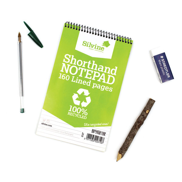 Silvine 127 x 203mm Recycled Shorthand Notepads, Pack of 12 - RE160-T