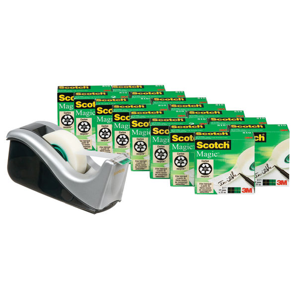 Scotch 19mm x 33m Magic Tape, Pack of 16 with Dispenser - 8-1933R16060