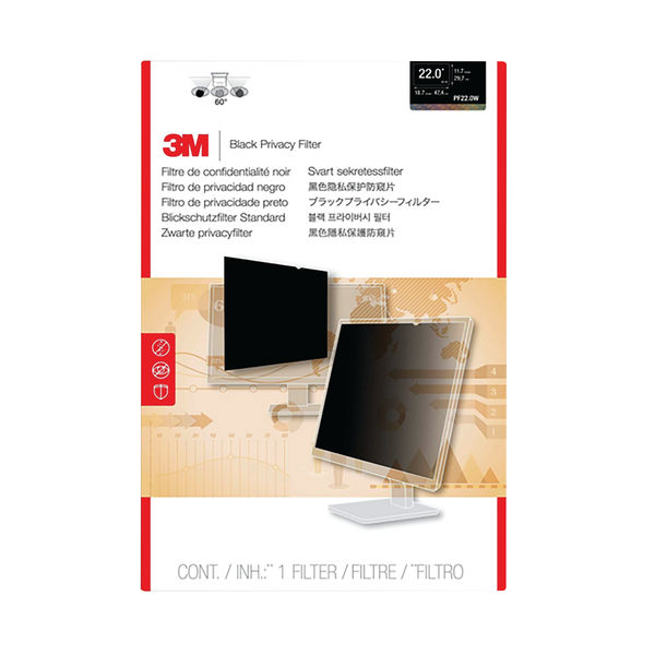 3M Black 22 Inch 16:10 Widescreen Privacy Filter - PF22.0W