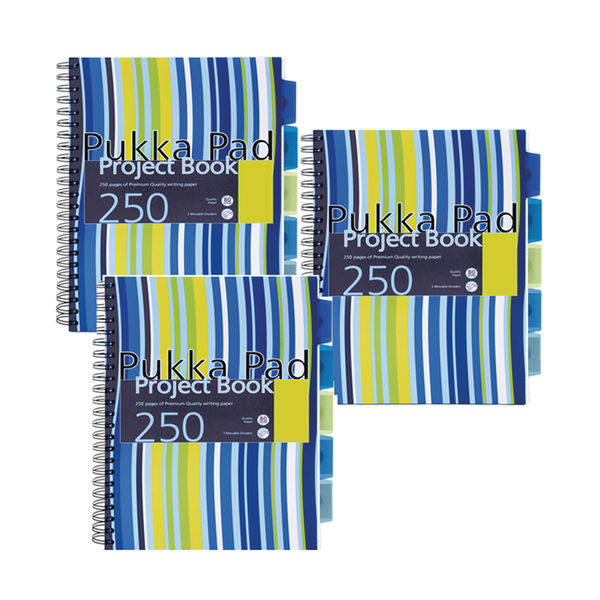 Pukka Pad Blue A4 Polypropylene Project Book - Pack of 3 - PROBA4