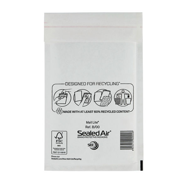 Sealed Air Bubble Postal Bags Self Seal White 120x210mm Pack MLW B/00