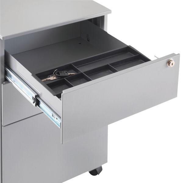 First 615mm Silver 3 Drawer Under Desk Pedestal